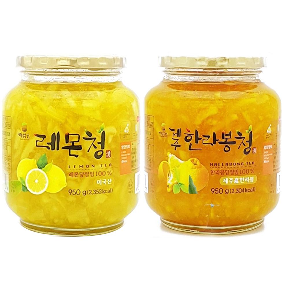 견과공장 겨울향기 프리미엄 햇과일청 2종 세트 한라봉청 950g + 레몬청 950g, 1세트
