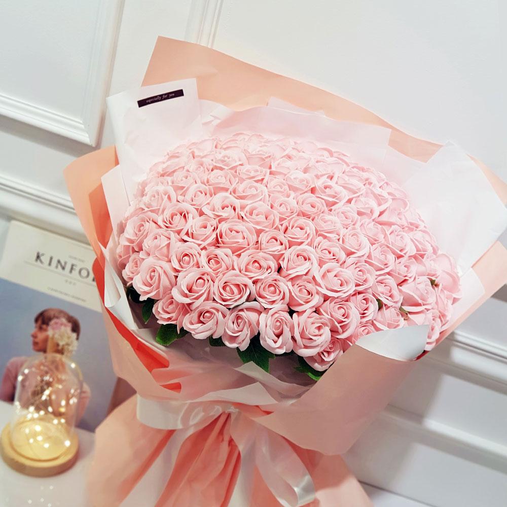 이플린 조화 비누꽃 장미 대형 꽃다발 100송이, 핑크