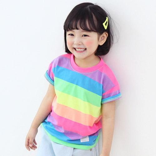 초코몽 아동용 무지개 라운드 티셔츠