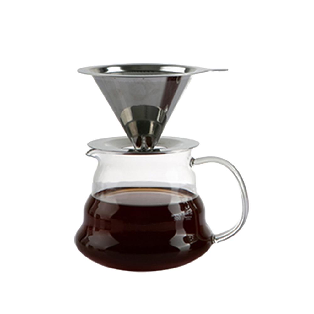 칼딘 세미퍼머먼트 스텐 커피 드리퍼 핸드드립 세트 370ml FD-01, 1세트, 혼합색상