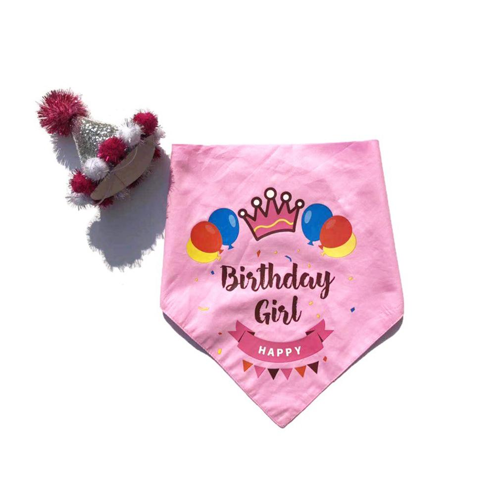 요기쏘 반려동물 생일 축하 고깔모자 + 스카프 세트, 핑크