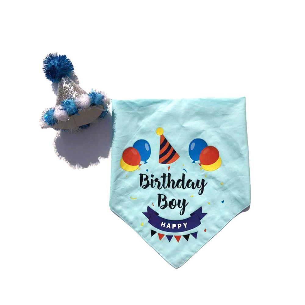 요기쏘 반려동물 생일 축하 고깔모자 + 스카프 세트, 블루