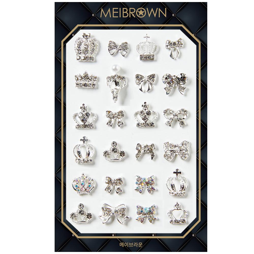 메이브라운 왕관 리본24 네일파츠 P012, 혼합색상, 1개
