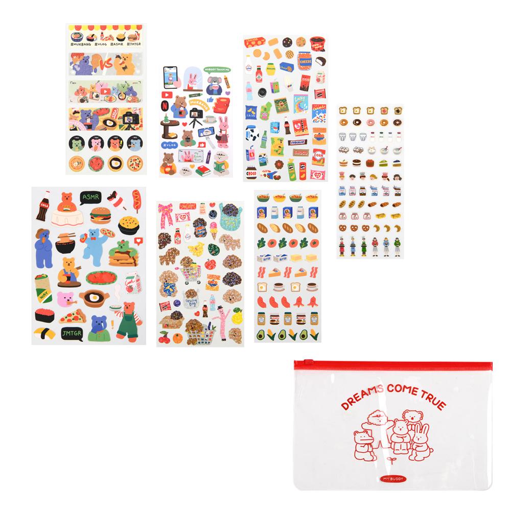 데일리라이크 하루일상 01 먹방 스티커세트 + 파우치 랜덤발송, 혼합색상, 1세트