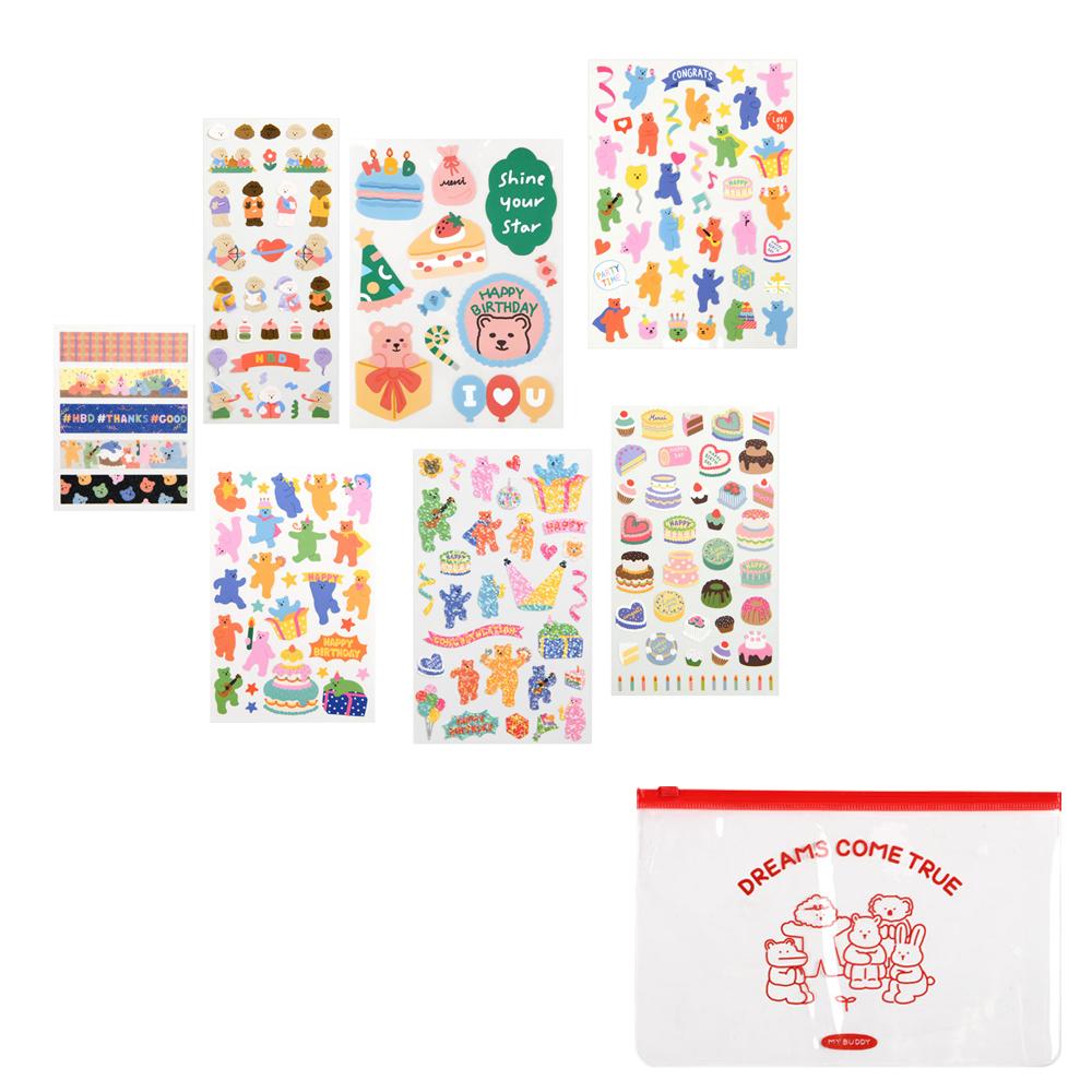 데일리라이크 하루일상 04 생일 스티커세트 + 파우치, 랜덤발송(파우치), 1세트