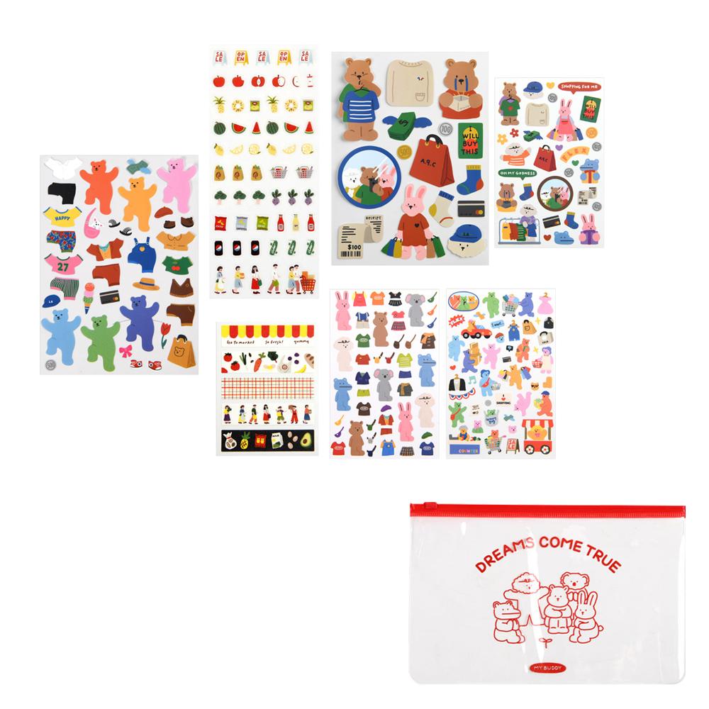데일리라이크 하루일상 02 쇼핑 스티커세트 + 파우치, 랜덤발송(파우치), 1세트