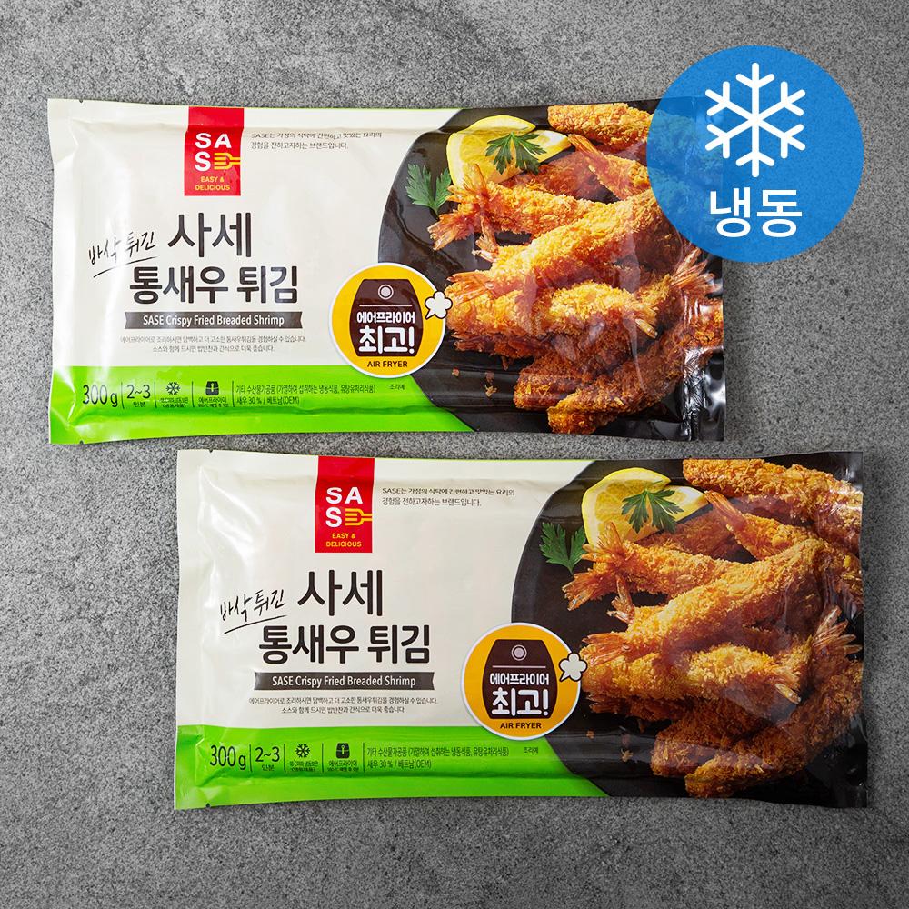 사세 바삭튀긴 통새우 튀김 (냉동), 300g, 2개