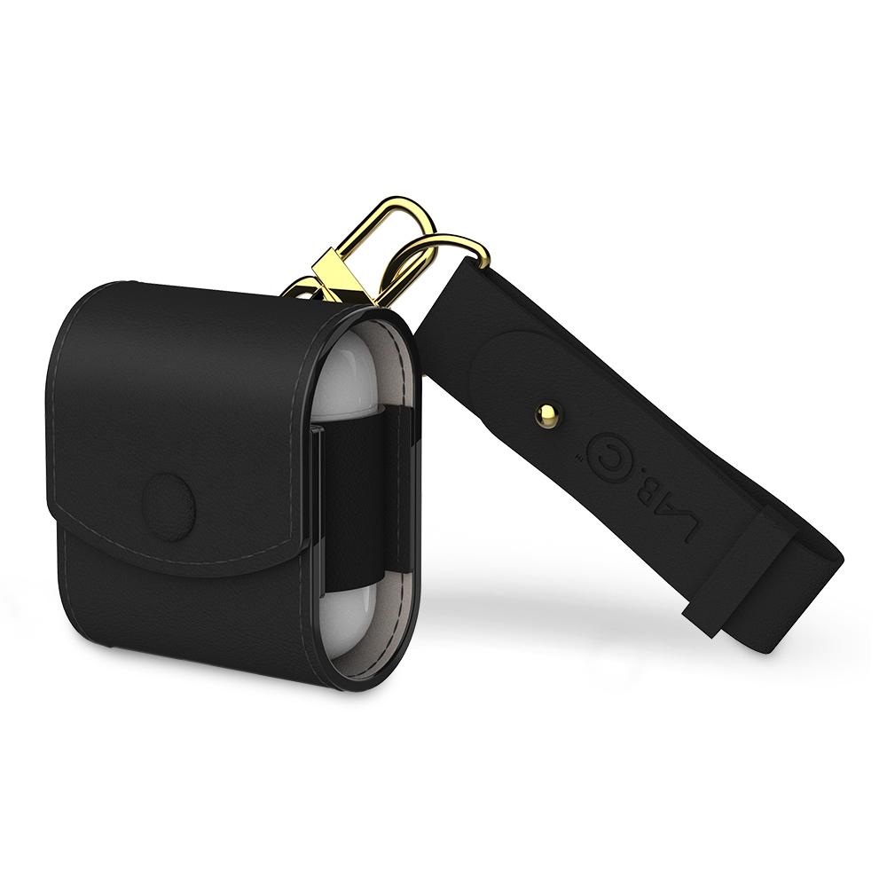 랩씨 에어팟 1 / 2세대 캡슐 가죽 케이스 + 스트랩 세트, 단일상품, 블랙