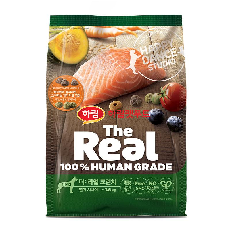 하림펫푸드 더리얼 크런치 시니어 강아지사료, 연어, 1.6kg