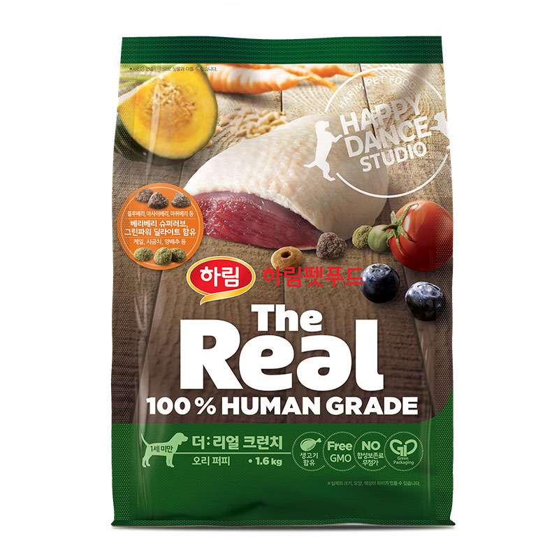 하림펫푸드 더리얼 크런치 퍼피 강아지사료, 오리, 1.6kg