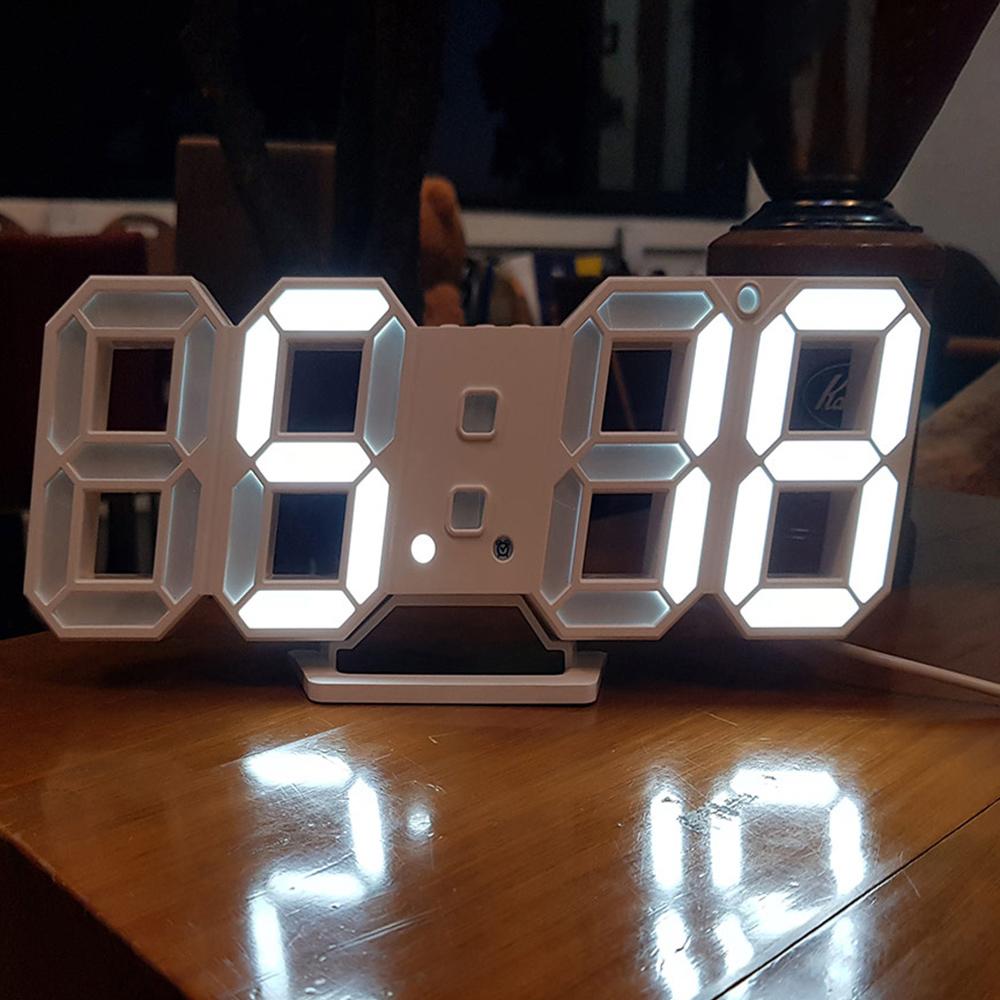 잇츠온 3D 디지털 LED 탁상시계, 화이트