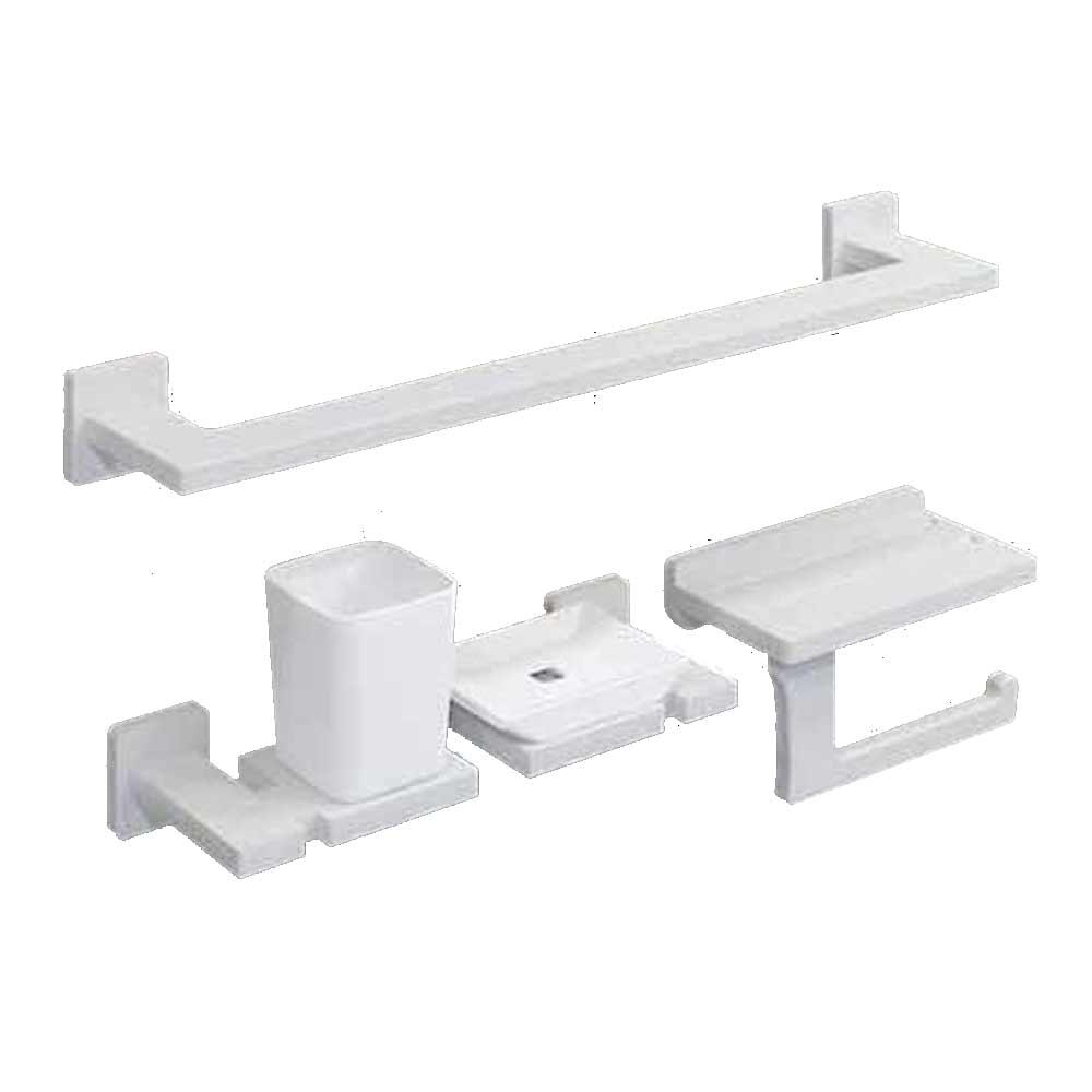 바스앤바스 마사 인조대리석 욕실 사각 악세서리 4종세트 MS-800WP, 화이트펄, 1세트