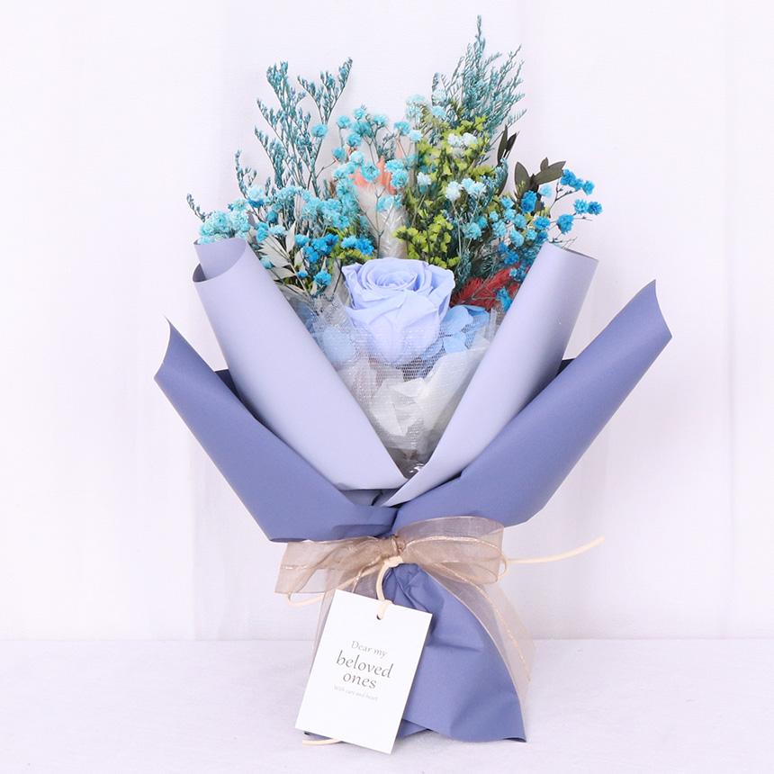 프리저브드 장미 꽃다발 + 쇼핑백, 블루