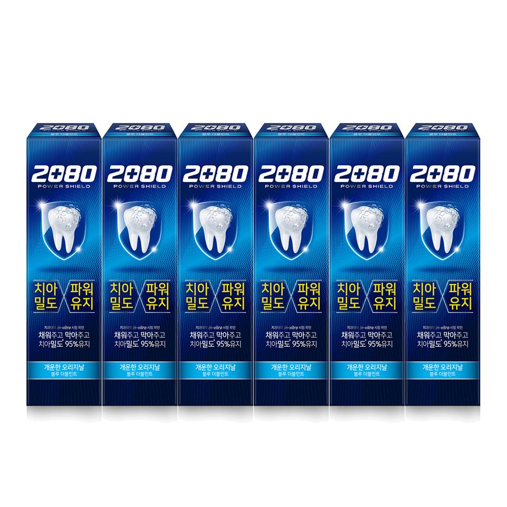 2080 파워 쉴드 치약 블루 더블민트, 150g, 6개