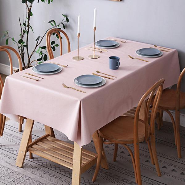 마켓감성 PVC 심플 방수 테이블보, 핑크, 90 x 140 cm