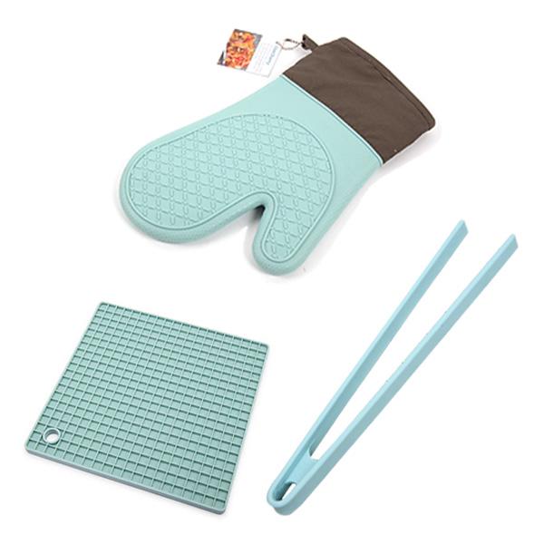 Charmy 실리콘 주방장갑 + 실리콘 냄비 손잡이 받침 + 실리콘 슬림 집게 세트, 혼합색상, 1세트