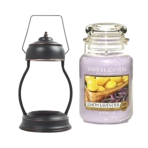 양키캔들 라지자 캔들워머 라지 세트 + 전구 2p, 워머(앤틱블랙), 캔들(레몬라벤더)