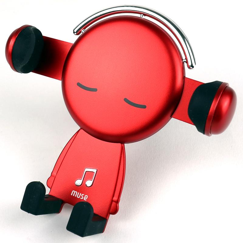 뮤즈 송풍구 중력식 노터치 차량용 휴대폰 거치대, 1개, 빨강