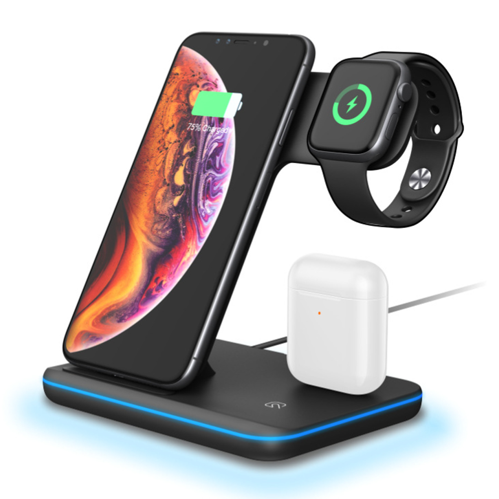 머레이 3in1 스마트폰 에어팟 애플워치 다중 무선 충전 거치대 GY-Z5, 블랙, 1개