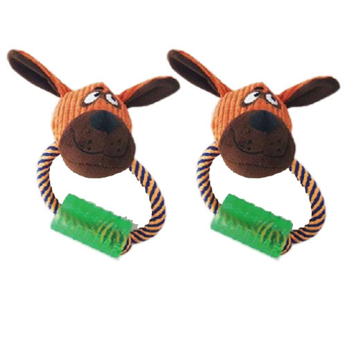 까꿍펫 로프링 치발기 강아지 봉제인형 9 x 20 cm, 오렌지, 2개