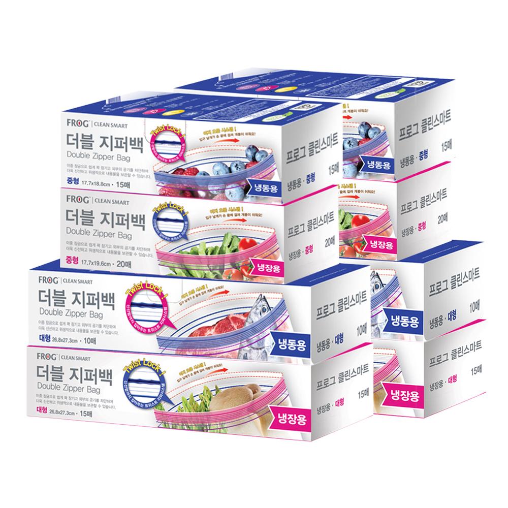 프로그 더블 지퍼백 냉장 중 20매 + 냉장 대 15매 + 냉동 중 15매 + 냉동 대 10매 세트, 2세트