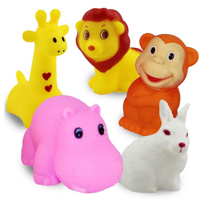 딩동펫 강아지 동물원 친구들 라텍스 토이 5종 세트, 기린, 사자, 토끼, 원숭이, 하마, 1세트