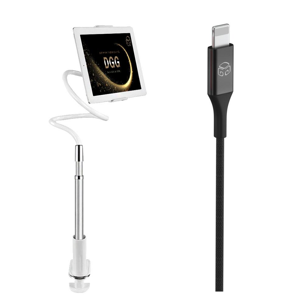 디지지 레이지 2 멀티 태블릿 자바라 거치대 실버 + 메탈 컬러 고속충전케이블 8핀 2m, 블랙, 1세트