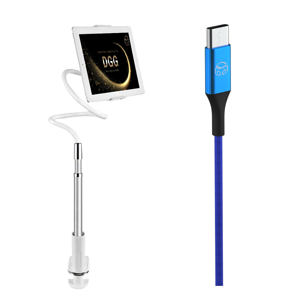 디지지 레이지 2 멀티 태블릿 자바라 거치대 실버 + 메탈 컬러 고속충전케이블 C타입 2m, 블루, 1세트