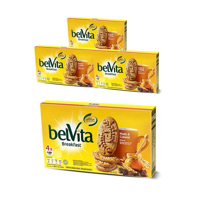 belVita 허니 초콜렛맛 과자, 80g, 4개