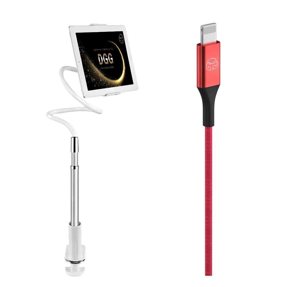디지지 레이지 2 멀티 태블릿 자바라 거치대 실버 + 메탈 컬러 고속충전케이블 8핀 2m, 레드, 1세트