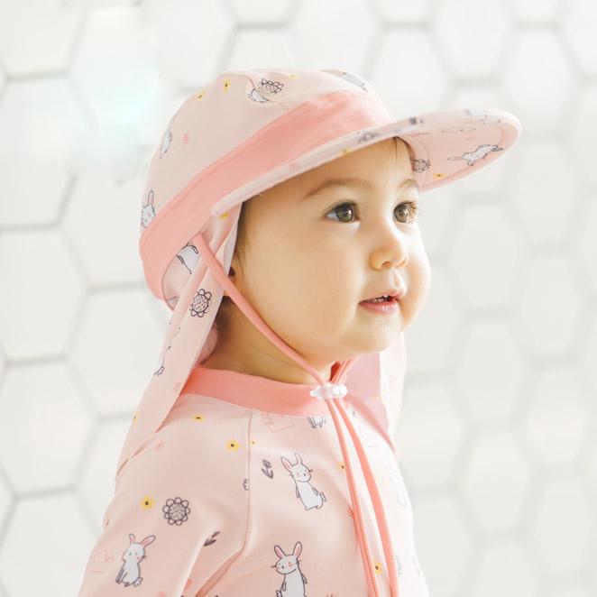 아이엠베베 유아동용 UV차단 귀욤토끼 수영 플랩캡