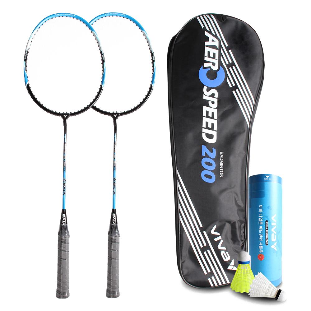 비바스포츠 에어로스피드 200 배드민턴 라켓 블루 2p + 나일론 셔틀콕 6p + Full Cover 세트, 1세트