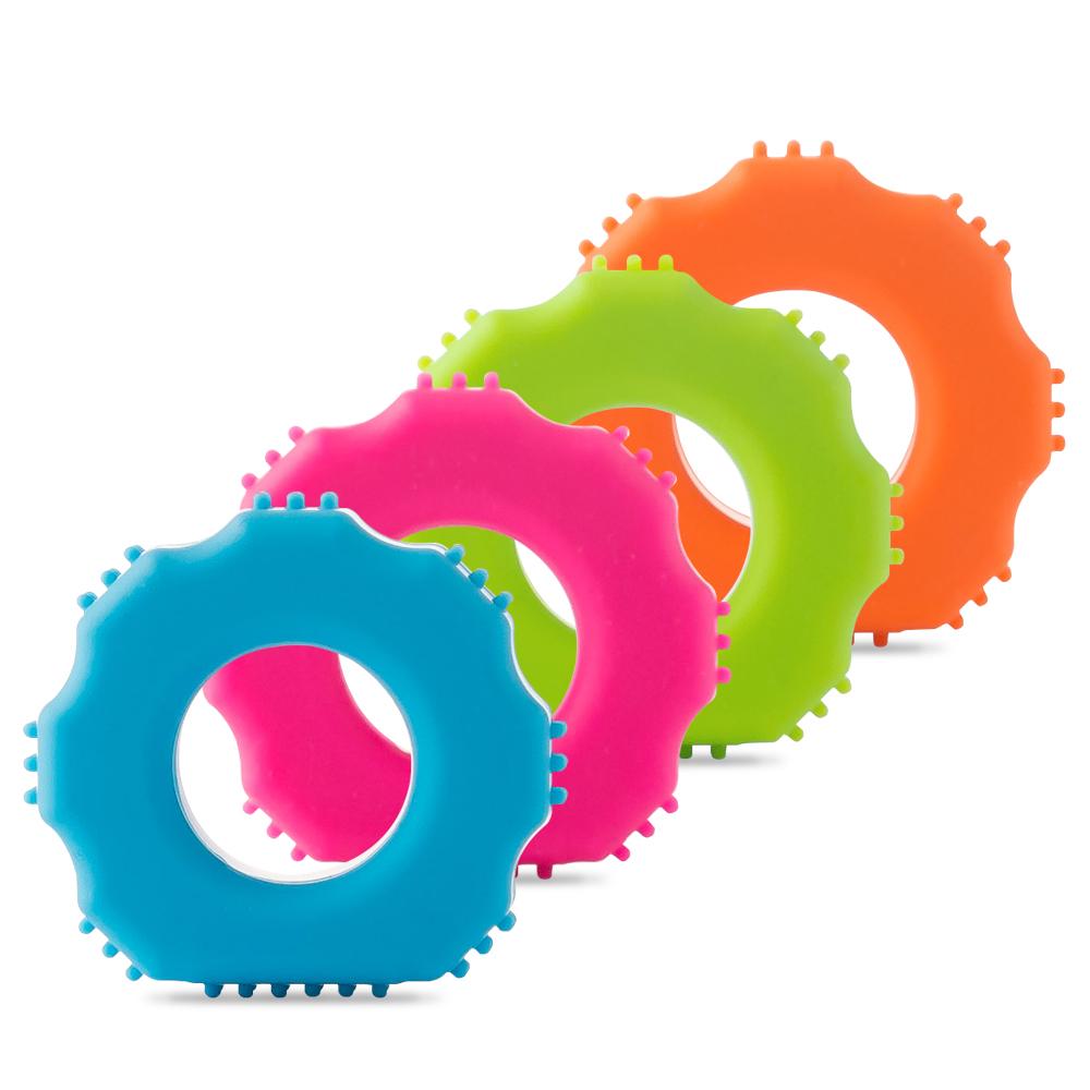 플라이토 실리콘 지압 악력기 4p, 블루, 핑크, 그린, 오렌지