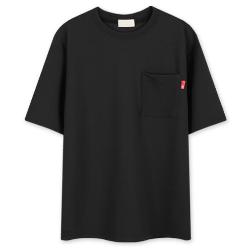 레이먼 엠보 터치 포켓 루즈핏 반팔 라운드 티셔츠