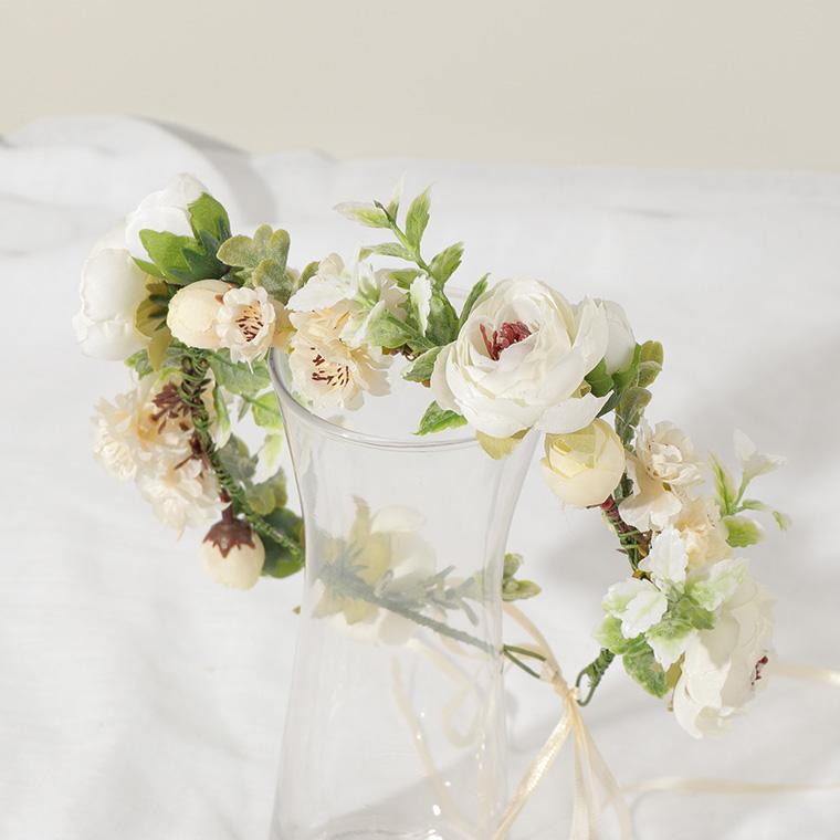 앨리의집 들꽃 라넌큘러스 화관, 크림 + 연두
