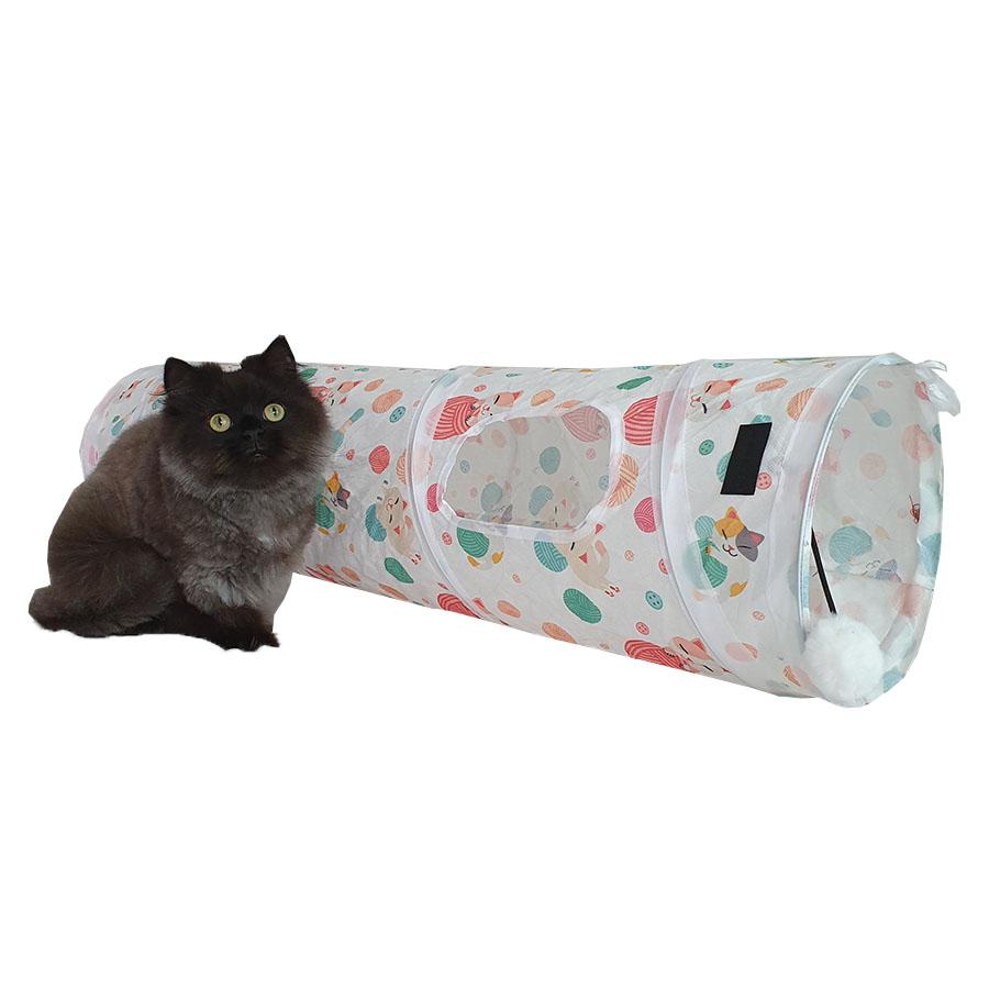 네꼬모리 고양이 코튼볼 터널 + 전용 파우치, 혼합색상, 1세트