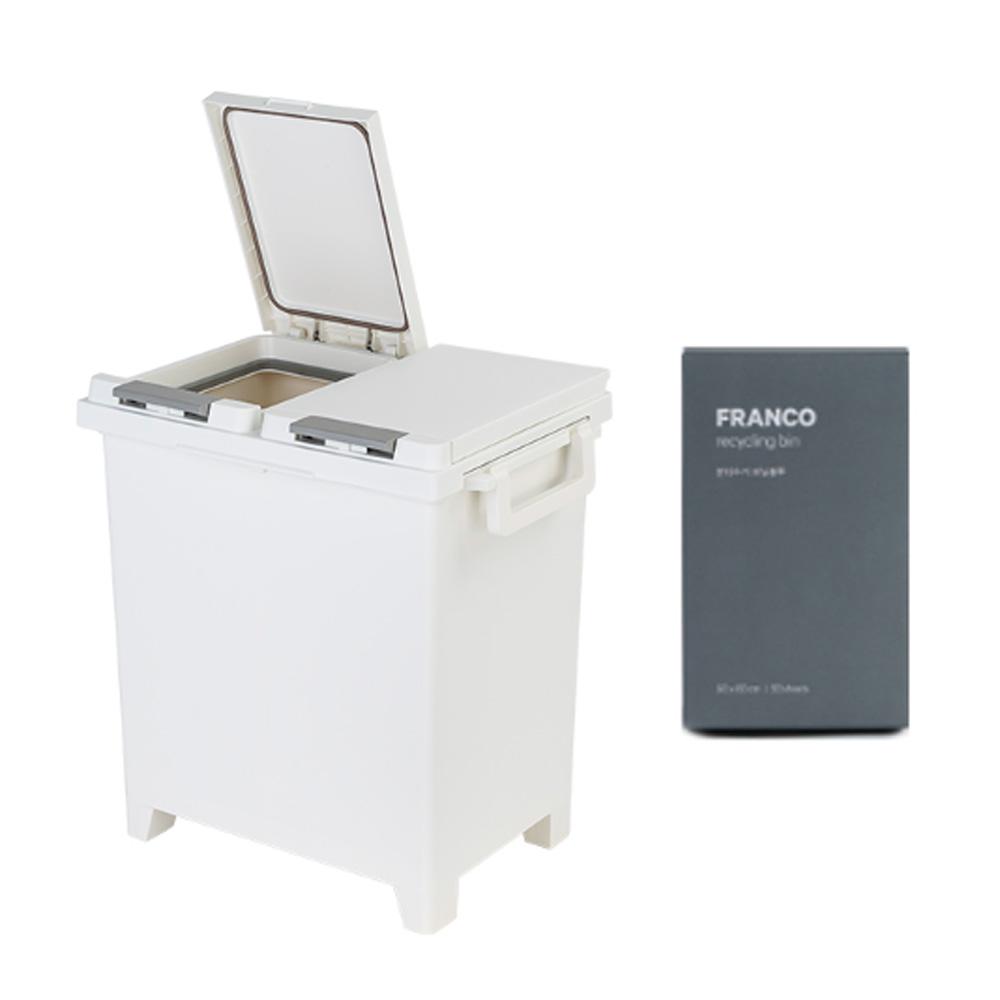 프랑코 원터치 밀폐형 휴지통 30L + 비닐봉투 10L x 50p, 화이트, 1세트