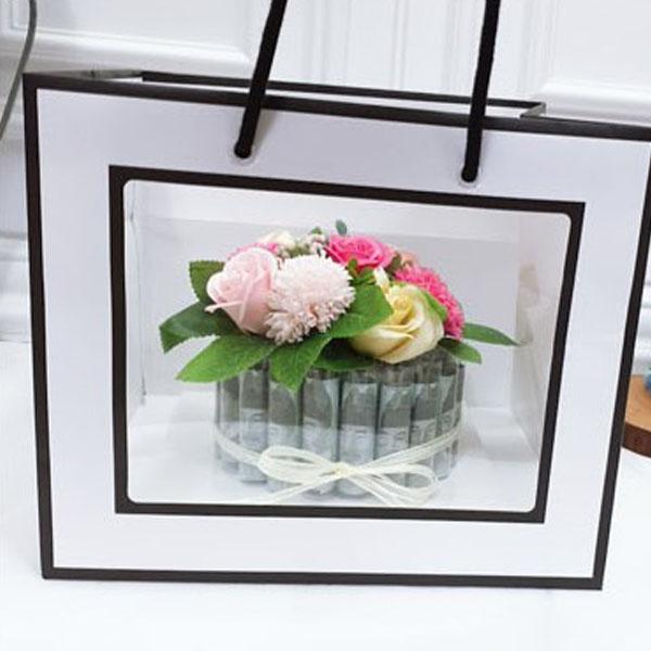 러블리팜 조화 DIY 플라워 용돈 케이크 20 + 쇼핑백 랜덤발송, 핑크