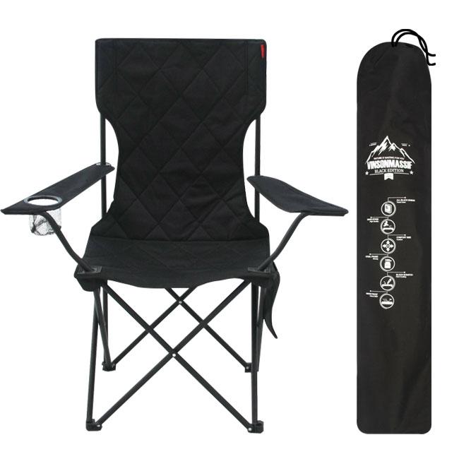 빈슨메시프 와이드 쿠션 폴딩 캠핑 체어 + 보관가방 세트, 티탄블랙, 1세트