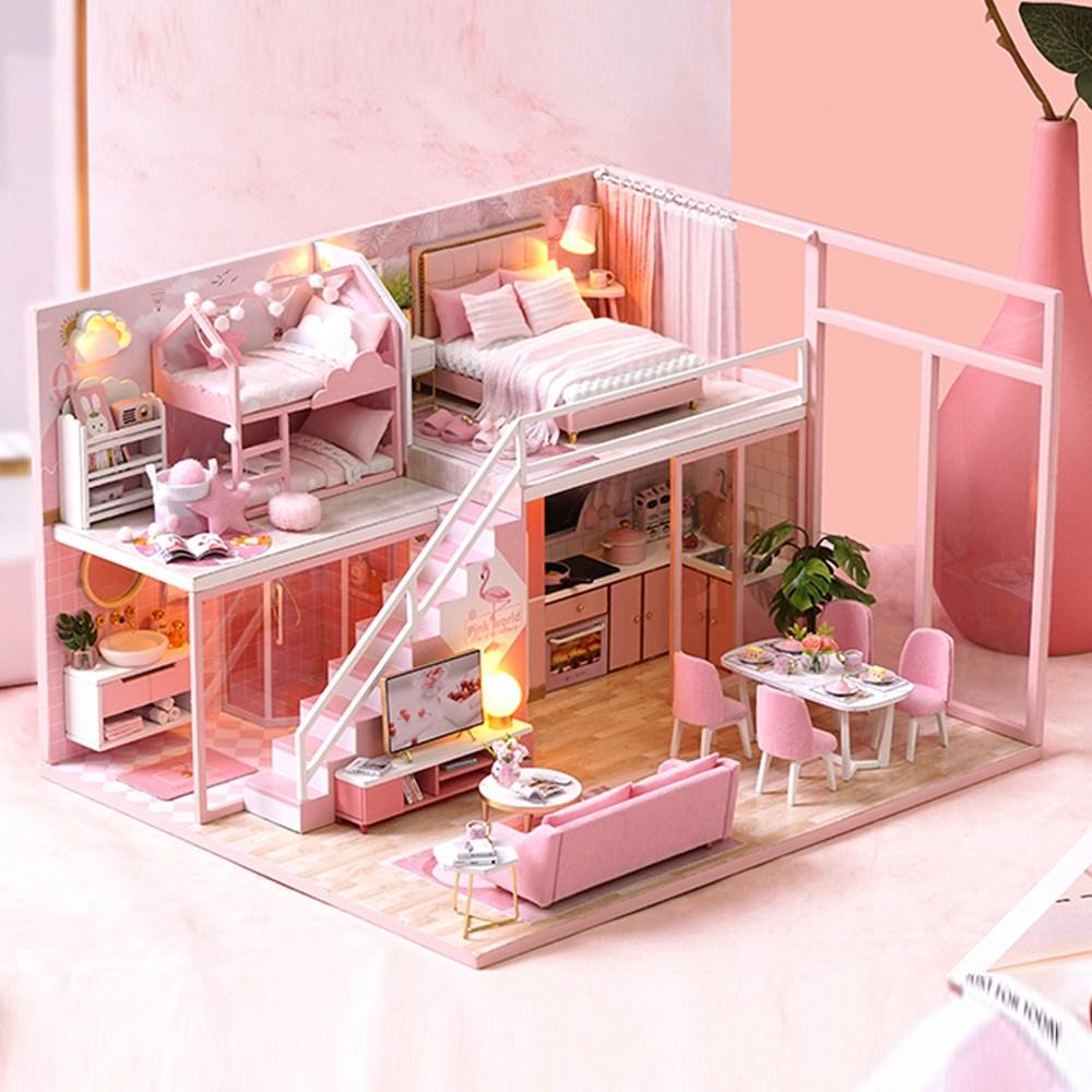 DIY 미니어처 하우스 만들기 세트, 핑크 펜트하우스