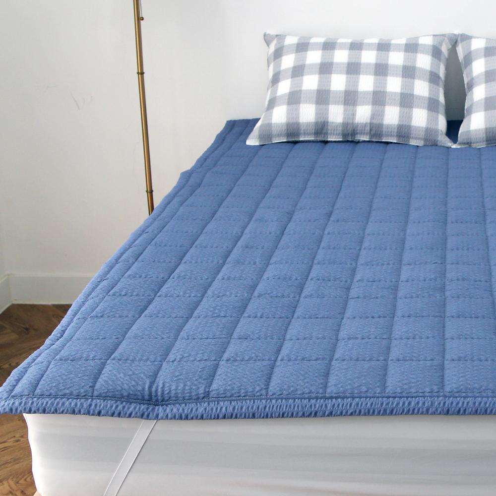 바숨 고정밴드 시어서커 여름 침대 패드, 블루