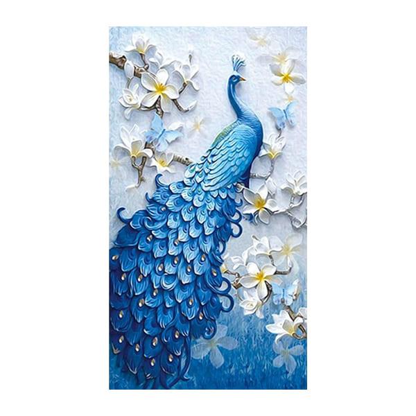 케이엠엘리 3D 공작새 보석 십자수 세트 50 x 82 cm, 혼합색상, 1세트