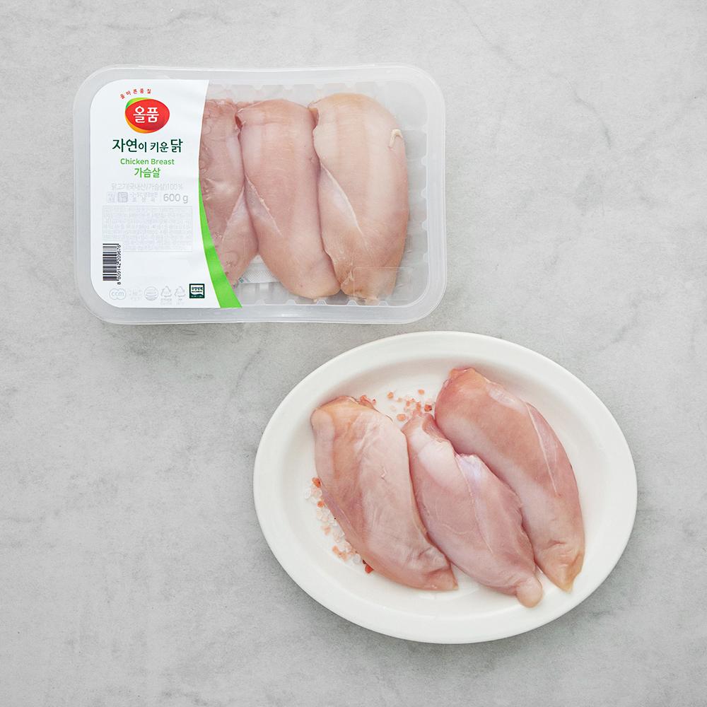 올품 무항생제 인증 자연이키운닭 가슴살 (냉장), 600g, 1팩