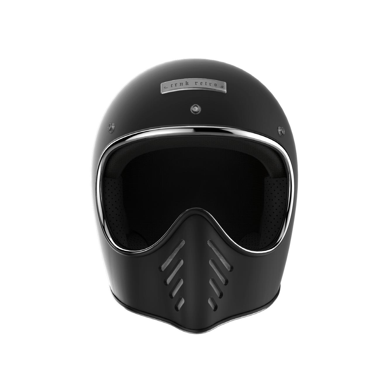 CRNK RETRO 오토바이 풀페이스 헬멧, Black