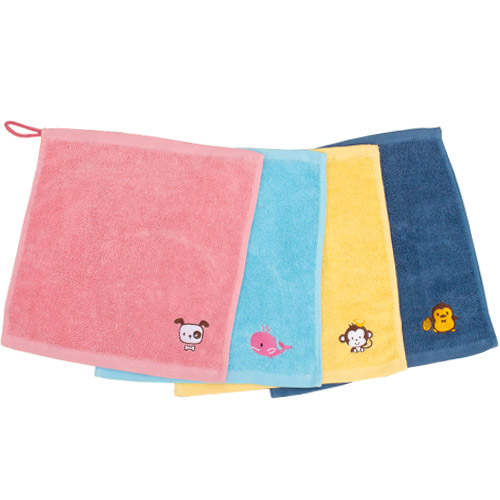 어린이집 생일선물 귀요미 고리 수건 4종, 청록, 노랑, 핑크, 하늘, 1세트