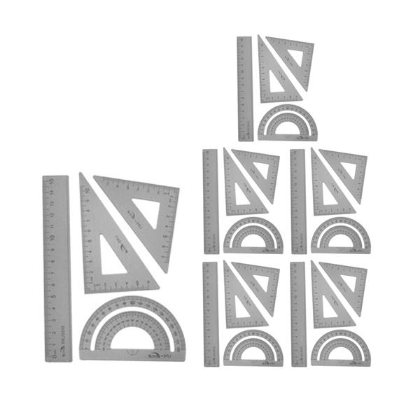 블루마토 삼각자 각도기 4종 세트 15cm RSA001, 실버, 6세트 (POP 1679793723)