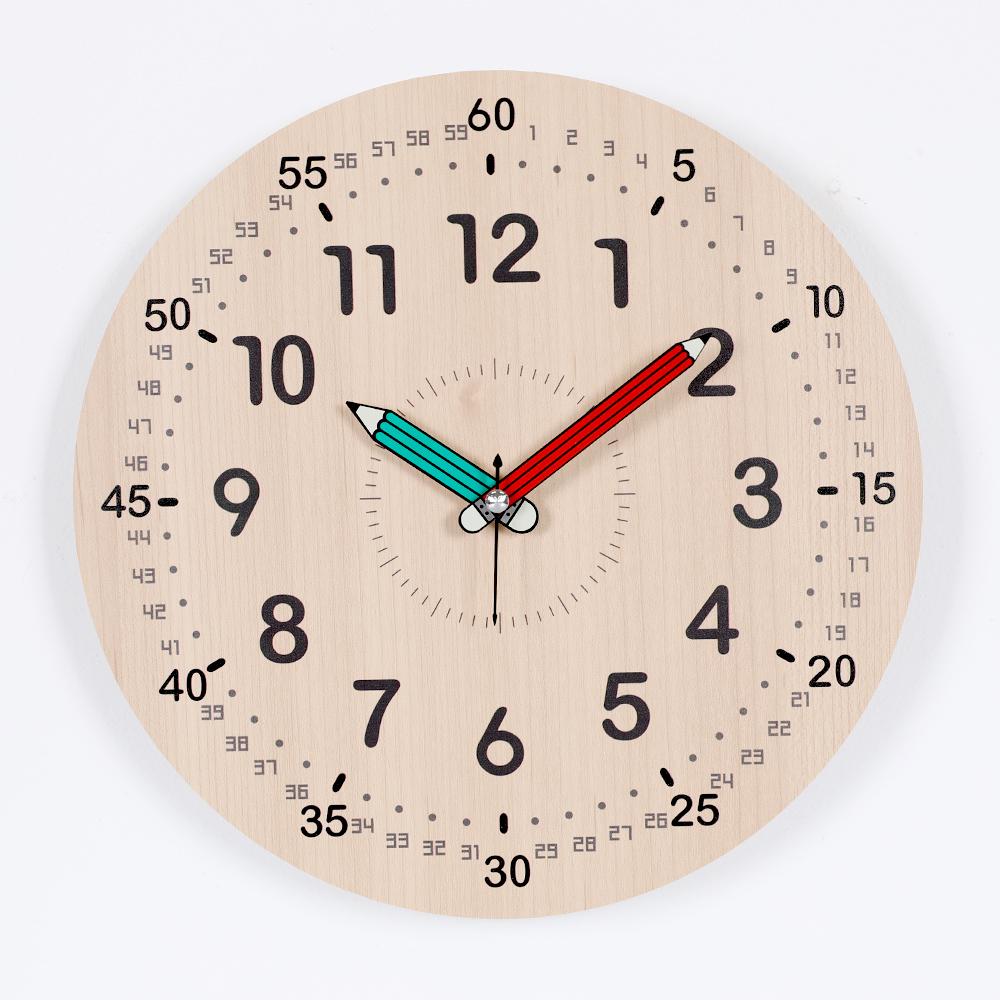 하루아홈 다이얼넘버 교육용 어린이 아이 시계공부 무소음 벽시계 LW2002 + AA건전지, 혼합색상