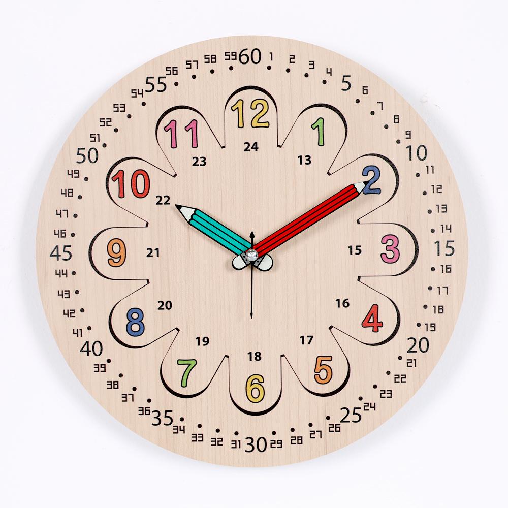 하루아홈 플라워레인보우 교육용 어린이 아이 시계공부 무소음 벽시계 LW2003 + AA건전지, 혼합색상