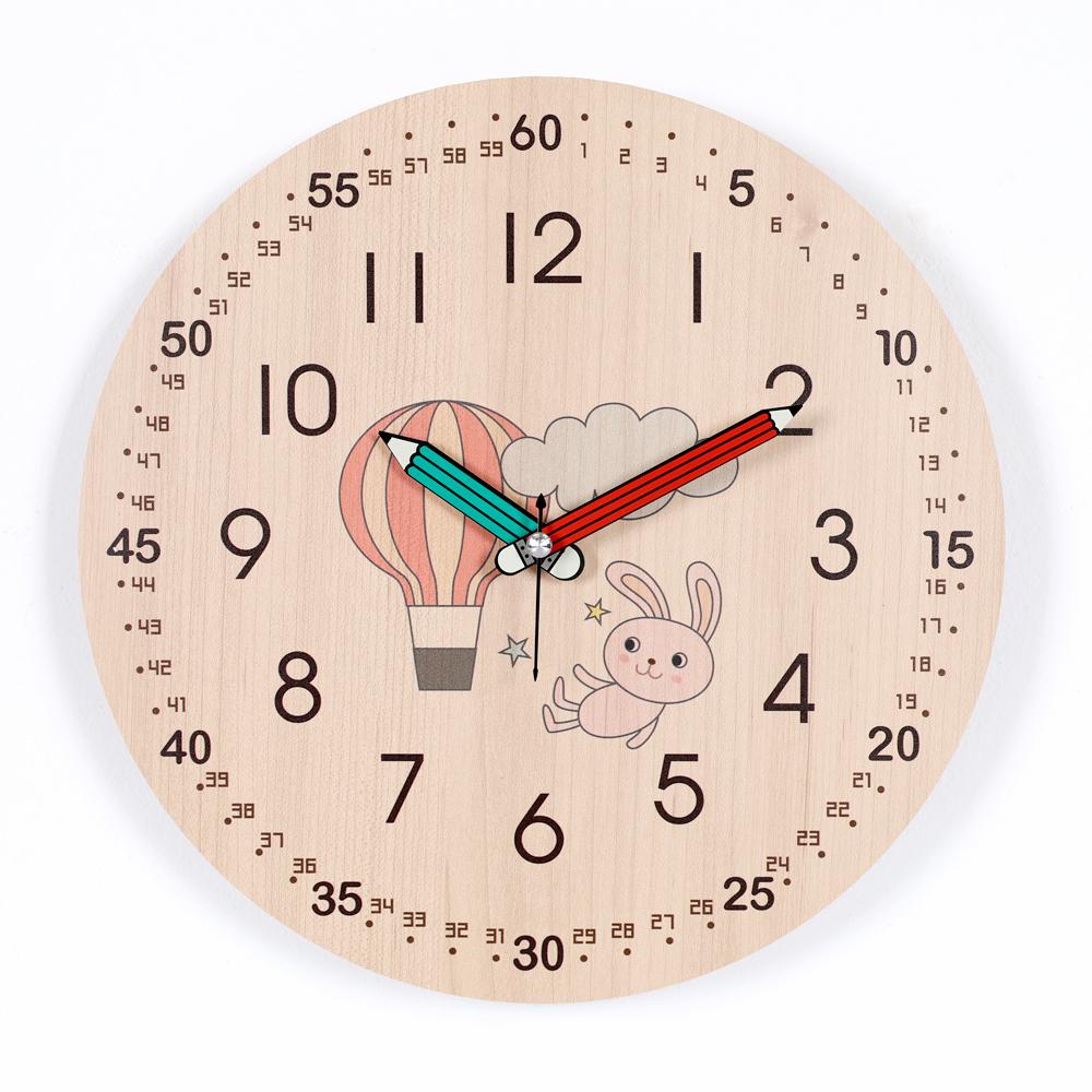 하루아홈 열기구토끼 교육용 어린이 아이 시계공부 무소음 벽시계 LW2012 + AA건전지, 혼합색상