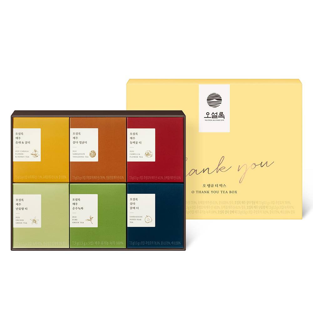 오설록 오땡큐 티백 선물 세트 E, 티백 6종 x 5p, 1세트